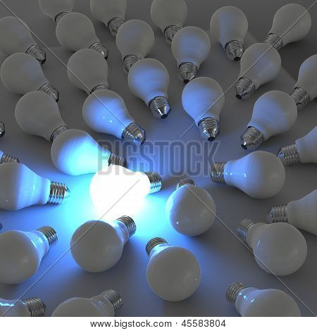 3D Growing Light Bulb Standing Out From The Unlit Incandescent Bulbs