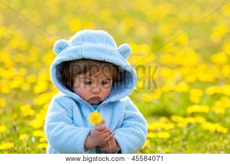 Portrait Of A Boy In Spring Flowers Field