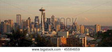 Seattle Washington Skyline Panoramic Urban Sunset Mountain Mt Rainier Distance