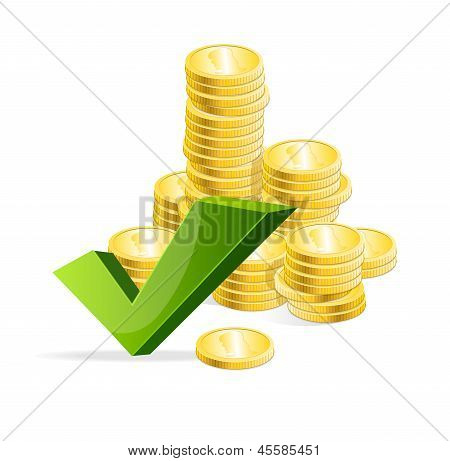 Vector coins stack and check mark