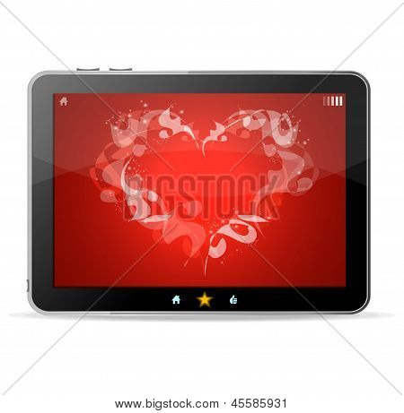 Black tablet like Ipade on white background ang heart