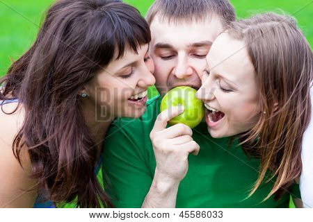 People Eating An Apple