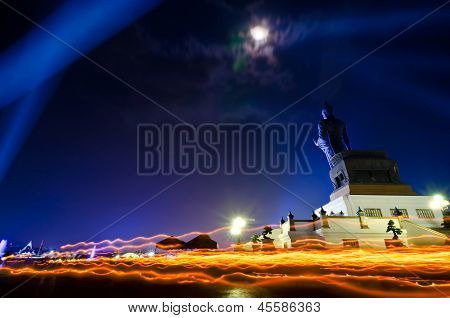 Makha Bucha Day In Thailand.