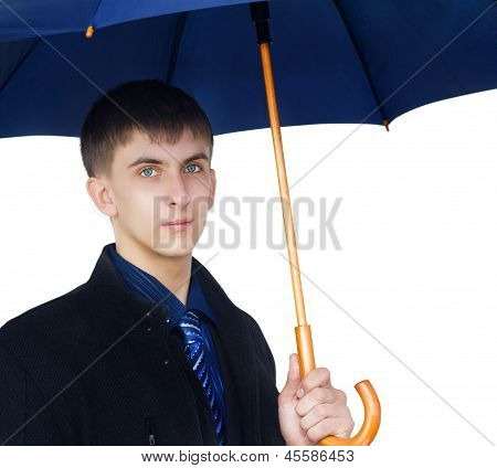 Closeup man holding blue umbrella