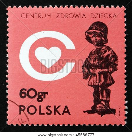 Postage Stamp Poland 1972 The Little Soldier, By E. Piwowarski