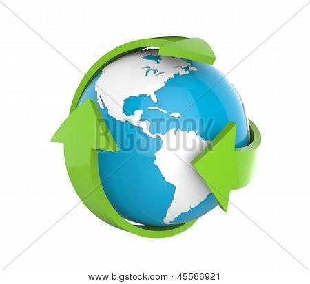 Earth Globe with Green Arrows