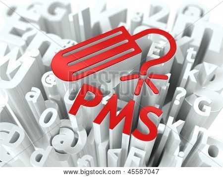 Red PMS (premenstrual  syndrome) Background.