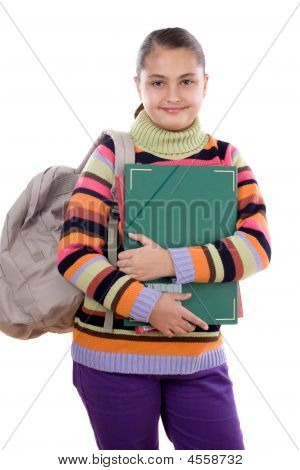 Girl Student With Folder And Backpack