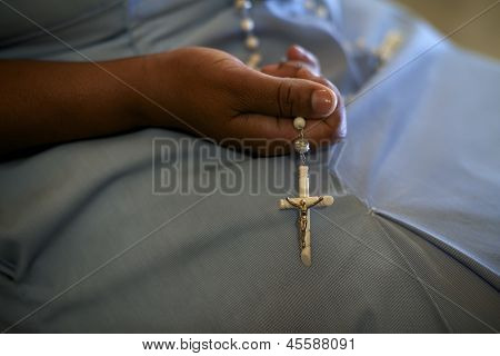 Women And Religion, Catholic Sister Praying In Church, Holding Cross