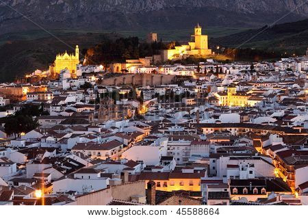Andalusian Town Antequera At Night