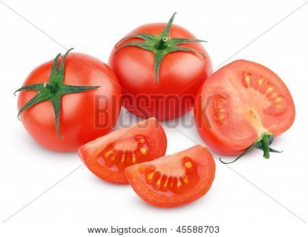 Red Tomato Vegetables With Cut On White