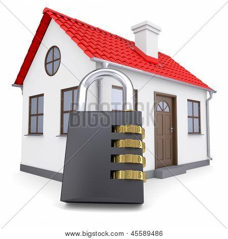 Combination lock locks the house