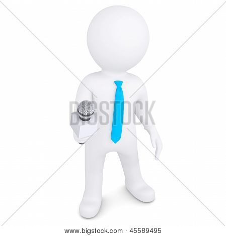 3d white man with a microphone