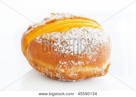 Berliner With Egg Creme Over White And Sugar