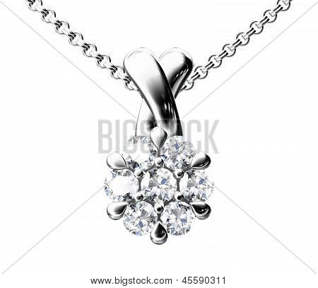 The Beauty Diamond Pendant On White Background
