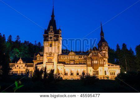Night View Of Peles Castle - Romania Landmark