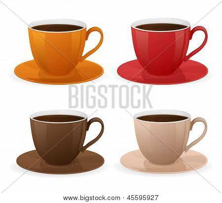 Vector cup of coffee set