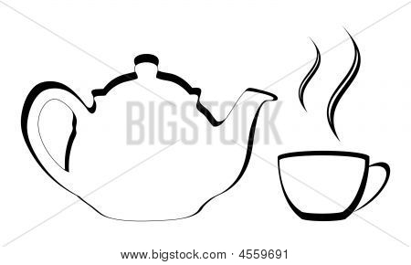 Stylized Teapot With Cup