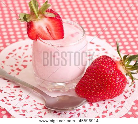 Tasty fresh strawberry smoothie