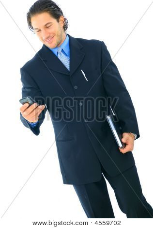 Isolated Busy Young Businessman