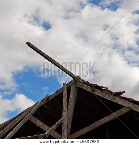 Collapsed Wooden Roof