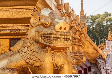 Golden lion in Shwezigon Pagoda