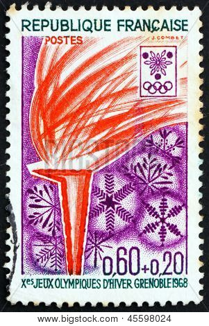 Postage Stamp France 1968 Flame And Snowflakes