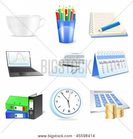 Vector Office And Business Item Icons Set