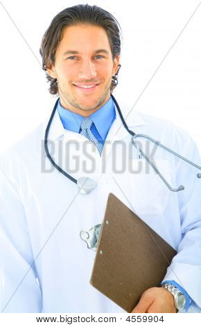 Isolated Young Doctor Smiling