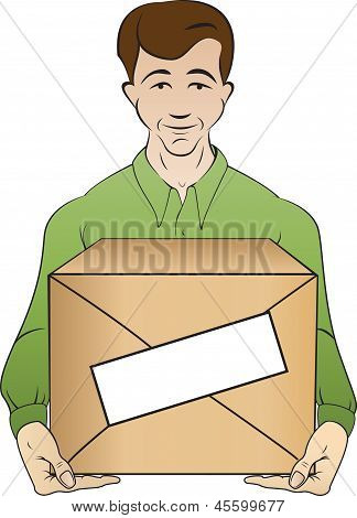 courier holds box