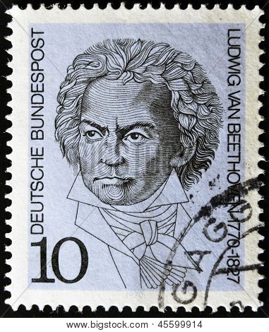GERMANY - CIRCA 1970: A stamp printed in Germany show Ludwig van Beethoven circa 1970