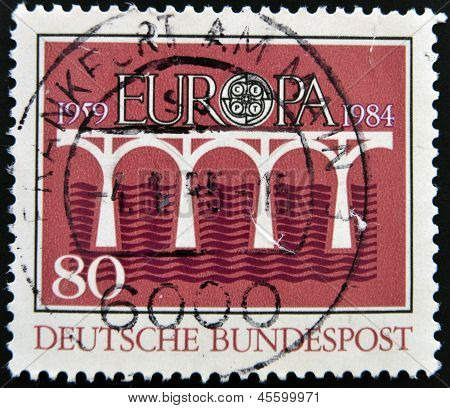 GERMANY-CIRCA 1984:A stamp printed in Germany dedicated to europe shows bridge circa 1984.