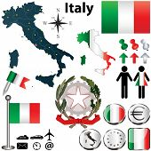 image of wind-rose  - Vector set of Italy country shape with flags wind rose and icons isolated on white background - JPG