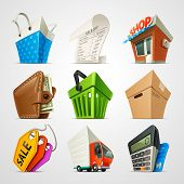 stock photo of receipt  - colorful and detailed vector shopping icon set - JPG