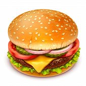 stock photo of beef-burger  - detailed vector hamburger icon on white background - JPG