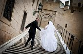 picture of castle  - Bride and groom wedding portraits in castle - JPG