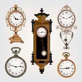 stock photo of pendulum clock  - set of vintage clocks isplated on background - JPG