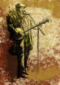 foto of banjo  - The bearded man playing the banjo and singing into a microphone - JPG