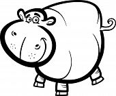 picture of hippopotamus  - Black and White Cartoon Humorous Illustration of Happy Hippo or Hippopotamus Animal Character for Coloring Book - JPG