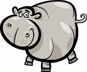 stock photo of hippopotamus  - Cartoon Humorous Illustration of Happy Hippo or Hippopotamus Animal Character - JPG