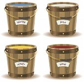 stock photo of pot gold  - Illustration of a set of cartoon wooden bucket with handle and gold metal strapping containing various liquid beverage water milkwine and honey with their respective label banner - JPG