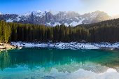 Lago Di Carezza (karersee) with Alps and blue skies, S�dtirol, Italy