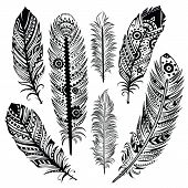 stock photo of hippy  - Set of ethnic feathers - JPG