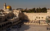 picture of tora  - The Wailing wall in Jerusalem in the afternoon - JPG