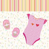 stock photo of babygro  - Baby girl background with shoes and dress - JPG