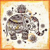 image of indian elephant  - Beautiful butterflies seamless - JPG
