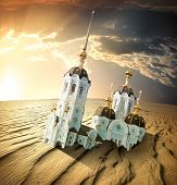 stock photo of doomsday  - Church in the sands of the desert at sunset - JPG