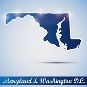 picture of maryland  - shiny icon in form of Maryland state and Washington D - JPG
