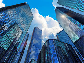 image of reflections  - Downtown corporate business district architecture concept - JPG