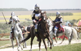 picture of jousting  - Medieval knights in battle background with horse - JPG